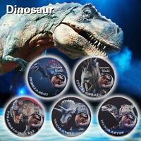 WR 5pcs Dinosaur World Silver Coin Tyrannosaurus Rex Velociraptor Jurassic Time