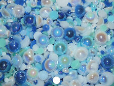 CandyCabsUK 50g Mixed Flatback Faux Half Pearls Cabochons BULK BUY Ice Blue Mix