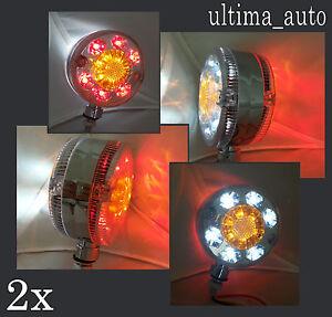 2X MIRROR 24V LED LOLLIPOP RED WHITE AMBER SIDE MARKER LIGHTS FOR SCANIA VOLVO