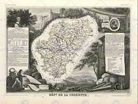 MAP OLD FRANCE LEVASSEUR CHARENTE DEPARTMENT POSTER ART PRINT BB12017B