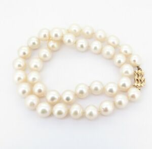 .Vintage 8.5-9.0mm Cultured Pearl With 14K Gold Clasp 41cm Necklace Val $3130