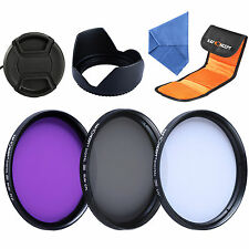 55mm Lens Filter Kit UV FLD CPL for Sony Alpha A230 A330 DSLR + Lens Hood Cap
