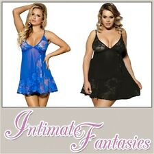Sexy Blue Black Red Babydoll Lace Lingerie Plus Size 10 12 14 16 18 20 Nighty