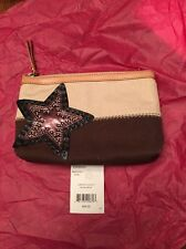 Brighton Jewelry Windstar Cosmetic Bag Brown with Studs Leather Embellished Star