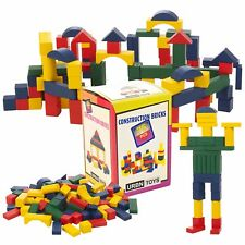 Childrens 75 Pcs Wooden Building Blocks for Kids Coloured Construction Toy Bricks Set