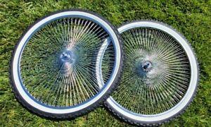 NEW 26'' X 2.125 CHROM 140 SPOKE BICYCLE RIMS N TIRES CRUISER, CHOPPER, LOWRIDER