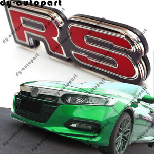 3D Glossy Surface Front Bumper Trunk Fender RS Emblem Decal Sticker Badge Red