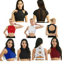 Women Shiny Latin Dance Crop Top Sport Yoga Tank Vest Gymnastic Ballroom Costume