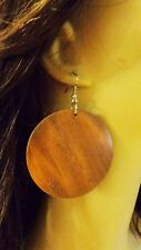 LARGE CIRCLE WOOD BOHEMIAN EARRINGS 2.25 INCH HOOP EARRINGS LIGHTWEIGHT