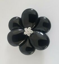 18kt White Gold Onyx & 1 Carat Diamond Large Camellia Flower Brooch Pin
