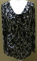 Women's Kenneth Cole New York Black And White Print V Neck Cowl Top Size XL