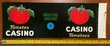 CASINO TOMATOES tin can label vintage 1940's french Canadian fruits vegetables