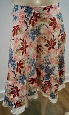 MARNI Cream Red Pink Blue Cotton Floral Printed Gently Flared Midi Skirt 42 UK10