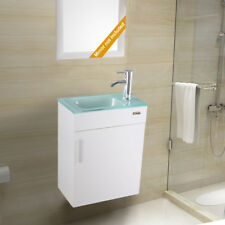 """White Wall Mount 19"""" Bathroom Vanity Cabinet Glass Sink Faucet Drain Combo PTrap"""