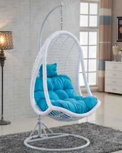 X8014 Rattan Swing Egg chair White Hanging Chair Blue Cushion Outdoor Egg Chair