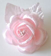 "SMALL 2.5"" Light Pink Satin Rose Silk Flower Hair Clip Wedding Bridesmaid"