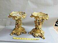 Vintage Antique Pair of 2  Putti-Form Patinated Metal Compotes 9.5'' T ~7.5'' W