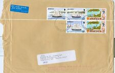 Jersey Chanel Islands Cover 1998 6x9 3 ship stamps, +2 map stamps