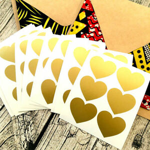 large Gold heart decal stickers, packaging, envelope seals, Gold stickers #1016