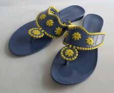 Jack Rogers Plastic Navajo Thong Sandals Blue with Yellow Size 8