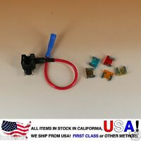 ADD-A-CIRCUIT BLADE STYLE ATM LOW PROFILE MINI FUSE HOLDER FUSE TAP + FUSES