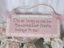 Shabby pretty Personalised best Auntie wooden sign gift chic