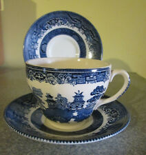 Lot Vintage 1 Johnson Brothers Blue Willow Cup 2 Churchill England  Saucers