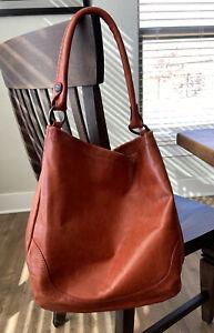 Frye Melissa Italian Leather Hobo Shoulder Bag ~ Burnt Orange