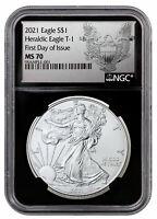 2021 American Silver Eagle T-1 NGC MS70 FDI Black Core Holder Heraldic Eagle