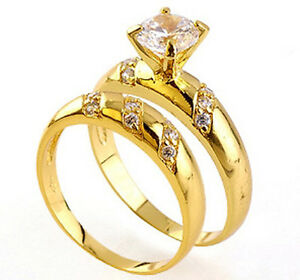 0.86ct Clear CZ Engagement Wedding Band 18K Yellow Gold Plated Ring Set Size 7 8