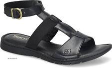 BORN women SOFIA LEATHER SANDALS Ankle Strap Buckle Open Toe Low Heel BLACK 9 M