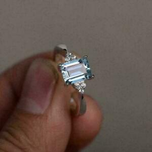 2.10Ct Emerald Cut Aquamarine Solitaire Engagement Ring 14K White Gold Finish