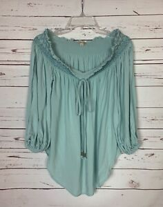 Holding Horses Anthropologie Women's S Small Blue 3/4 Sleeves Peasant Top Blouse