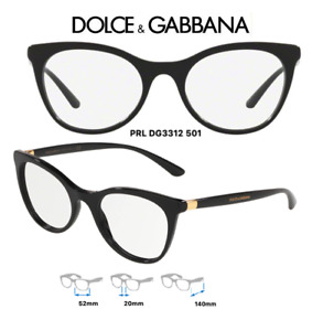 Dolce & Gabbana DG3312-501 Eyeglass Frames Womens Black Size 52mm (RX) Authentic