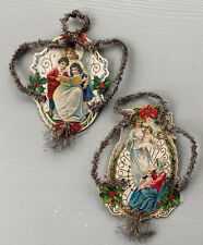 2 Antique German Christmas Ornaments Lithograph Die Cut Wire Tinsel 1880s Angels