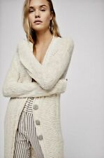 Free People Maxi Cardigan ivory Textured Slimming Clearwater Cardi Sweater S NWT