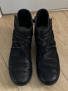 CLARKS CLOUD STEPPERS BLACK LEATHER ANKLE BOOTS SIZE 7 E