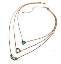 """Thompson Luxury """"Ranja"""" 3-tlg. Kette Kristall grün Antikgold plated UVP 20,90€"""