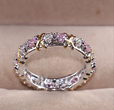 Sparkly Pink Clear White Cross Zircon Eternity Wedding Band Ring Size L1/2, 6