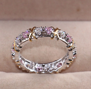 Pink Ring Size L1/2, 6 Clear White Cross Zircon Eternity Band Statement Ring