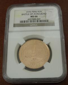 Peru 1976 Gold 1 Sol NGC MS66 Battle of Ayacucho
