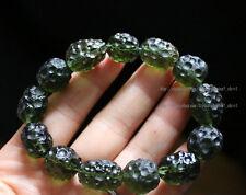 Green GEM MOLDAVITE Meteorite Impact Glass 12-15mm Bead Bracelet