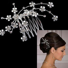 Rhinestone Crystal Silver Flower Clip Hair Comb Veil Tiara Prom Wedding Bridal