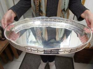 "LARGE 1930S VINERS SILVER PLATE ON COPPER GALLERY TRAY JUST OVER 20"" DOMED FEET"