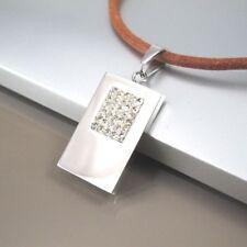 Argent Acier Inoxydable Carré Cristal Pendentif 3 mm en cuir marron collier tour de cou