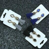 Black Blue or Grey Boho Gold Tone Tassel Earrings Dangle Drop Tassle Fringe *UK*