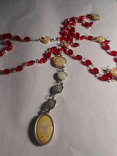 Holy Spirit Chaplet -(9mm twisted ruby red oval twisted glass bead)