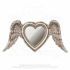 ALCHEMY ENGLAND Gothic Steampunk Angel Resin TABLE/WALL MIRROR Winged Heart SA6