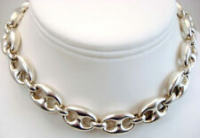Vintage Fine Jewelry Gucci Mariner LARGE Link Sterling Silver Necklace 20""