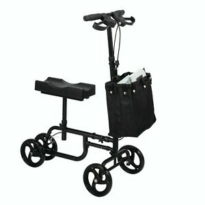 Knee Walker Scooter Mobility Alternative Crutches Wheelchair with Black Basket